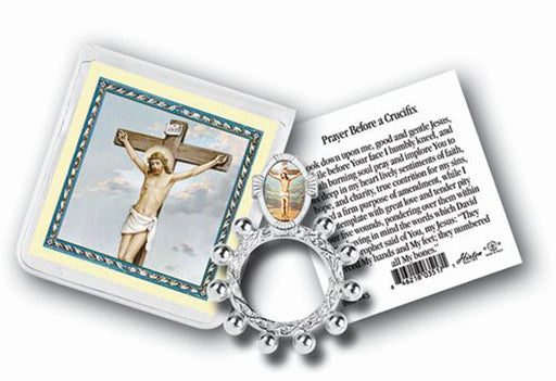 Crucifixion Rosary Ring And Prayer Card 10-Pack