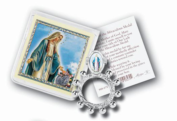 Our Lady Of Grace Rosary Ring And Prayer Card 10-Pack