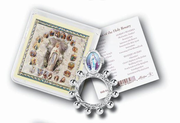 Our Lady Of Lourdes Rosary Ring And Prayer Card 10-Pack