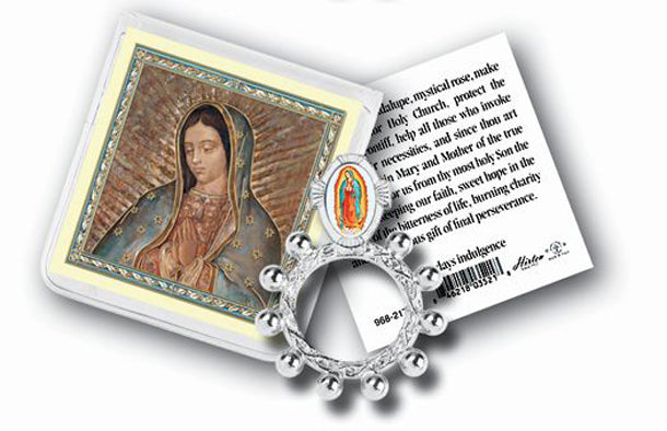 Our Lady Of Guadalupe Rosary Ring And Prayer Card 10-Pack