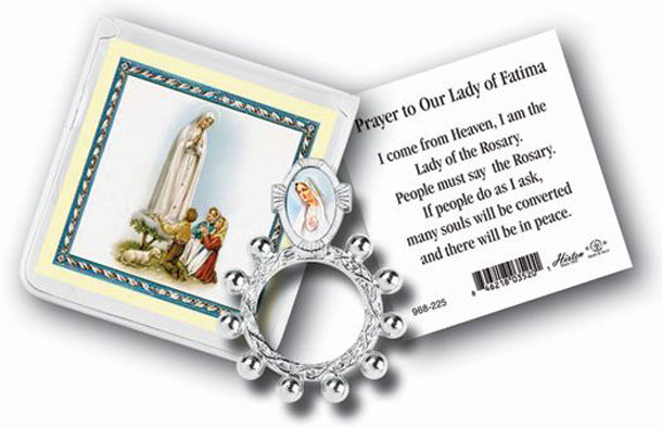 Our Lady Of Fatima Rosary Ring And Prayer Card 10-Pack