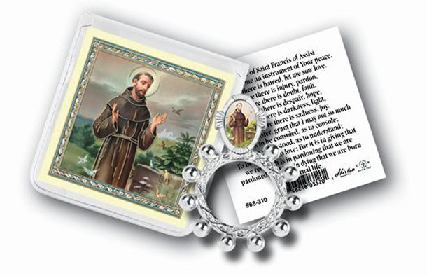 Saint Francis Rosary Ring And Prayer Card 10-Pack