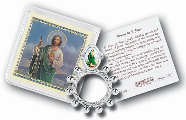 Saint Jude Rosary Ring And Prayer Card 10-Pack