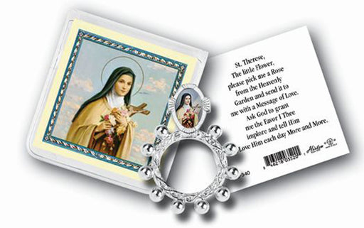 Saint Therese Rosary Ring And Prayer Card 10-Pack