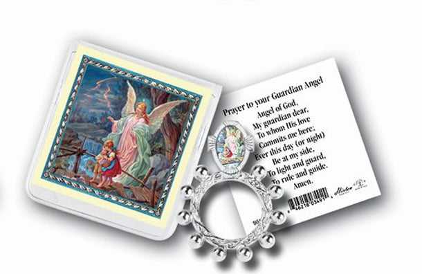 Guardian Angel Rosary Ring And Prayer Card 10-Pack
