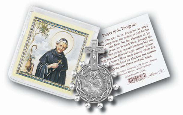 Saint Peregrin Rosary Ring And Prayer Card 10-Pack