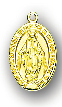 7/8-inch Solid 14kt. Gold Miraculous Medal with 14kt. Jump Ring Boxed