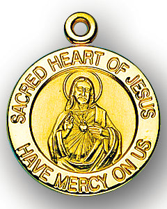13/16-inch Solid 14kt. Gold Sacred Heart of Jesus Medal with 14kt. Jump Ring Boxed