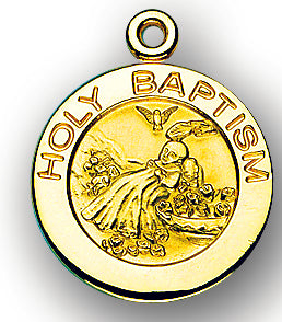13/16-inch Solid 14kt. Gold Round Baptism Medal with 14kt. Jump Ring Boxed