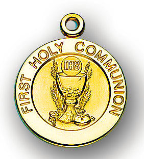 13/16-inch Solid 14kt. Gold Round Communion Medal with 14kt. Jump Ring Boxed