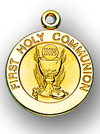 3/4-inch Solid 14kt. Gold Round Communion Medal with 14kt. Jump Ring Boxed