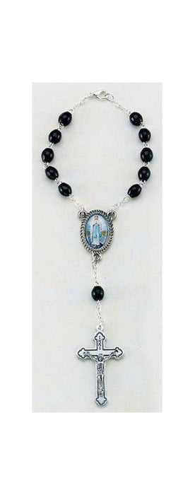 Our Lady Of Highway Auto Rosary 5X7MM Black Wood Beads