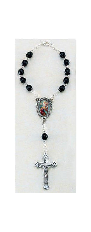 St Christopher Auto Rosary 5X7MM Black Wood Beads