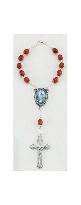 Our Lady Of Highway Auto Rosary 5X7 MM Brown Wood Beads