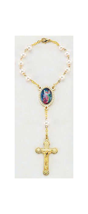 Guardian Angel Auto Rosary 6MM Pearl Imitation (Gold)