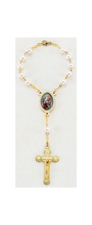 St Christopher Auto Rosary 6MM Pearl Imitation (Gold)