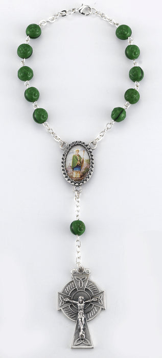 Saint Patrick Auto Rosary 7MM Green Wood Beads