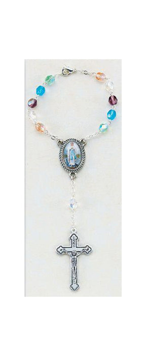 Our Lady Of The Highway Auto Rosary Multi Color 6MM Ab Beads