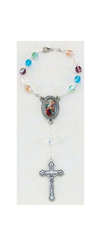 St Christopher Multi Color 6MM Ab Glass Beads Auto Rosary