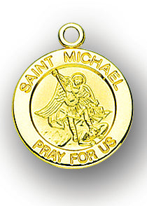 3/4-inch Solid 14kt. Gold Round Saint Michael Medal with 14kt. Jump Ring Boxed