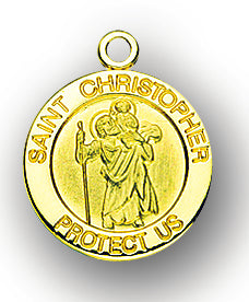 3/4-inch Solid 14kt. Gold Round Saint Christopher Medal with 14kt. Jump Ring Boxed