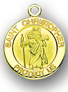 13/16-inch Solid 14kt. Gold Round Saint Christopher Medal with 14kt. Jump Ring Boxed