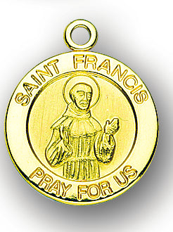 13/16-inch Solid 14kt. Gold Round Saint Francis Medal with 14kt. Jump Ring Boxed