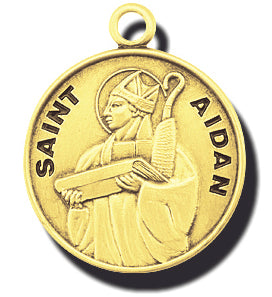 7/8-inch Solid 14kt. Gold Round Saint Aidan Medal with 14kt. Jump Ring Boxed