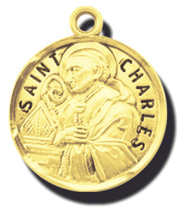 7/8-inch Solid 14kt. Gold Round Saint Charles Medal with 14kt. Jump Ring Boxed