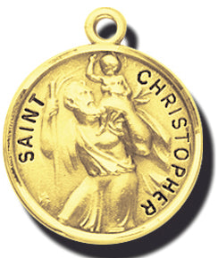 7/8-inch Solid 14kt. Gold Round Saint Christopher Medal with 14kt. Jump Ring Boxed