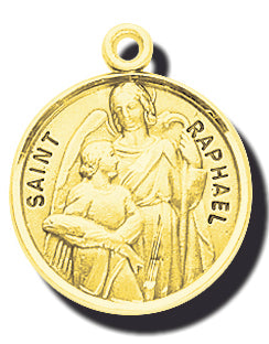 7/8-inch Solid 14kt. Gold Round Saint Raphael Medal with 14kt. Jump Ring Boxed