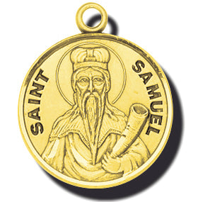 7/8-inch Solid 14kt. Gold Round Saint Samuel Medal with 14kt. Jump Ring Boxed