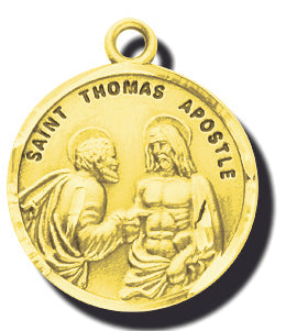 7/8-inch Solid 14kt. Gold Round Saint Thomas Apostle Medal with 14kt. Jump Ring Boxed