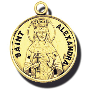 7/8-inch Solid 14kt. Gold Round Saint Alexandra Medal with 14kt. Jump Ring Boxed