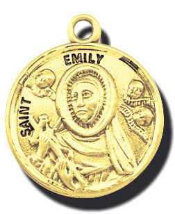 7/8-inch Solid 14kt. Gold Round Saint Emily Medal with 14kt. Jump Ring Boxed