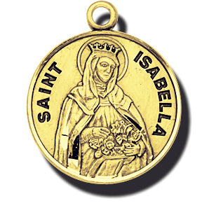 7/8-inch Solid 14kt. Gold Round Saint Isabella Medal with 14kt. Jump Ring Boxed
