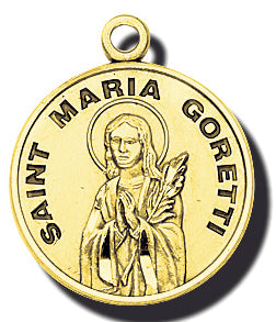 7/8-inch Solid 14kt. Gold Round Saint Maria Goretti Medal with 14kt. Jump Ring Boxed