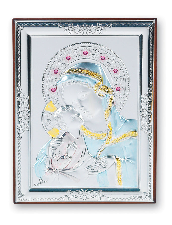 5-inch x 4-inch Sterling Silver Madonna and Child Plaque