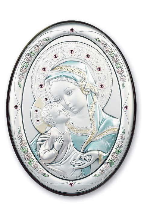 7-inch x 5-inch Sterling Silver Madonna and Child Plaque