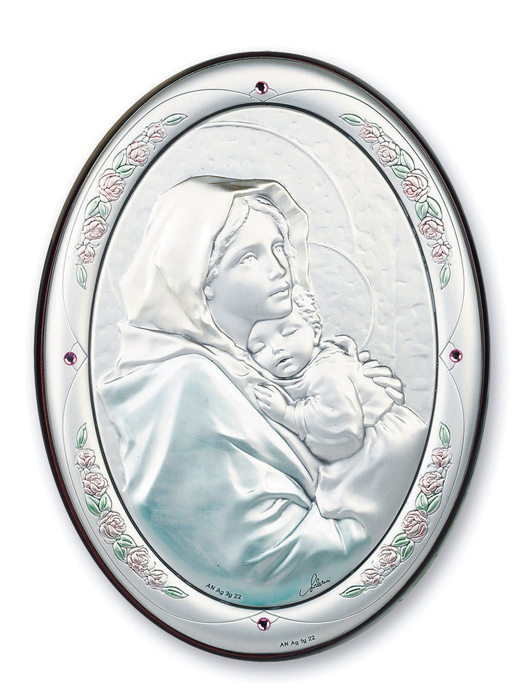 7-inch x 5-inch Sterling Silver Madonna of the Street Plaque