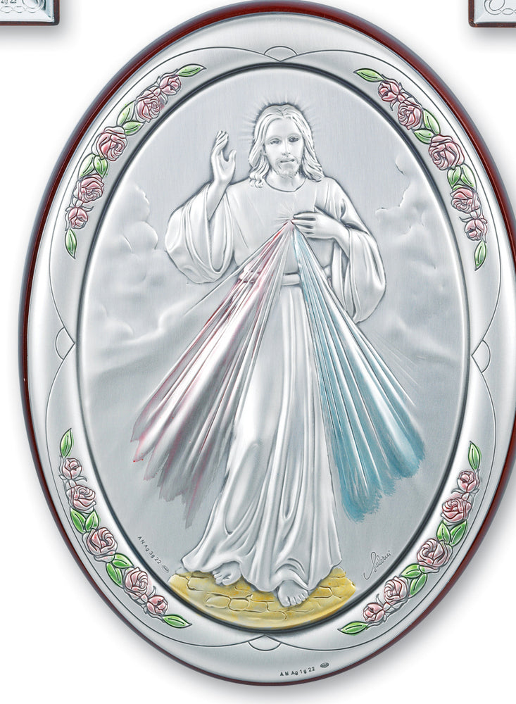 7-inch x 5-inch Sterling Silver Divine Mercy Plaque
