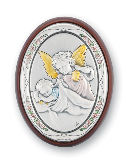 3-inch x 2-inch Sterling Silver Guardian Angel Watching Over Baby Plaque