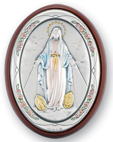 3-inch x 2-inch Sterling Silver Our Lady of the Miraculous Medal Plaque