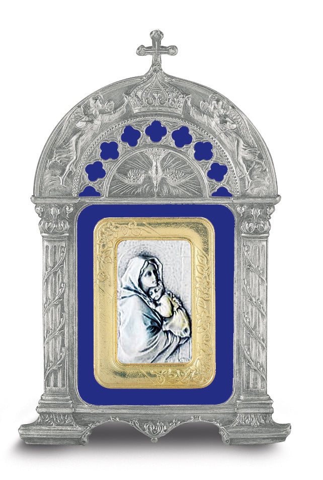 Antique Pewter Frame with Sterling Silver Madonna of the Street Image