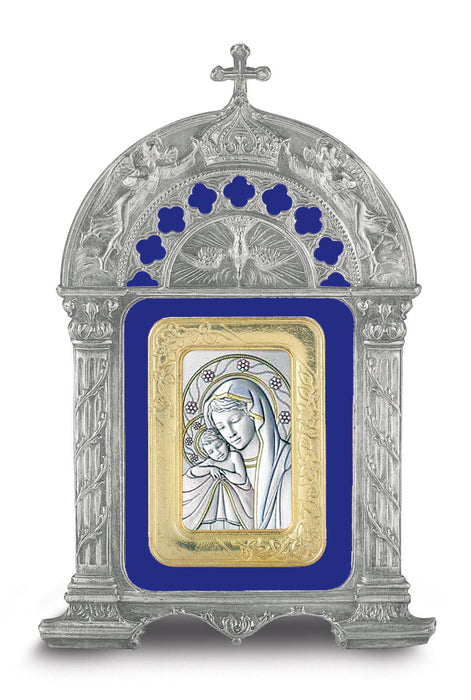 Antique Pewter Frame with Sterling Silver Madonna and Child Image