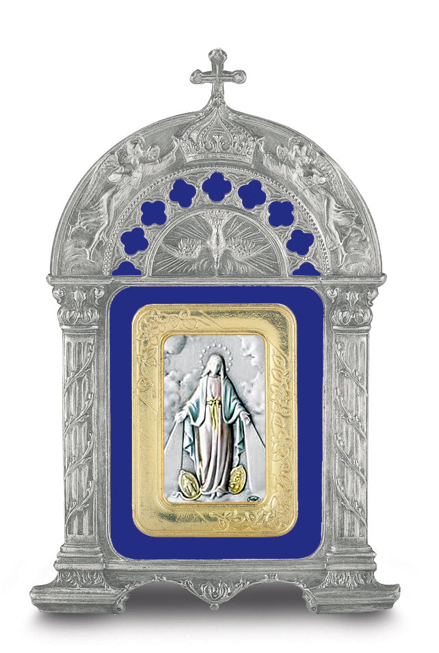 Antique Pewter Frame with Sterling Silver Our Lady of the Miraculous Medal Image