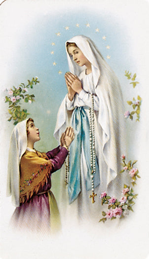 100-Pack - Our Lady Lourdes with Bernadette Holy Card