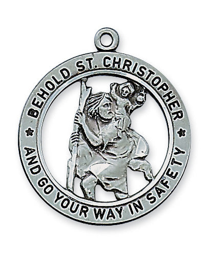 Antique Silver Saint Christopher with 24-inch Chain