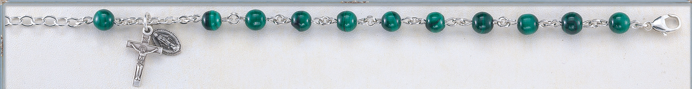 Genuine Malachite Round Sterling Bracelet