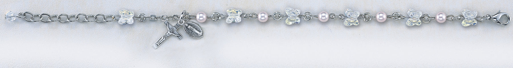 Aurora Swarovski Butterfly Crystal Bead and Sterling Bracelet